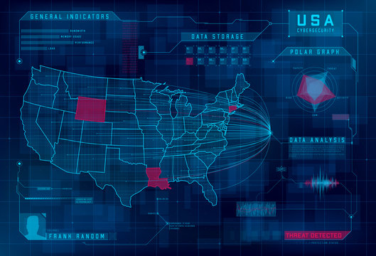 HUD map of the USA. Set of HUD callout design elements. Cyberattack, system under threat, DDoS attack. Cybersecurity, information security, big data analytics, safety system. Vector