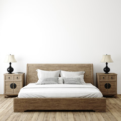 Stores à enrouleur Pierre, Sable Farmhouse bedroom interior background, wall mockup, 3d render