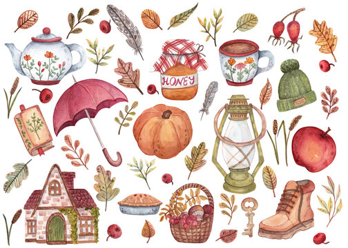 A large set of hand-drawn watercolor illustrations on a cozy autumn theme. Leaves of different shapes and colors, clothes, objects, berries, feathers for design, cards, decorations, stickers.