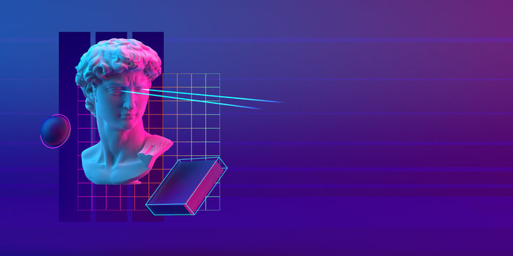 3d-illustration of an abstract cyberpunk composition of David sculpture and primitive objects