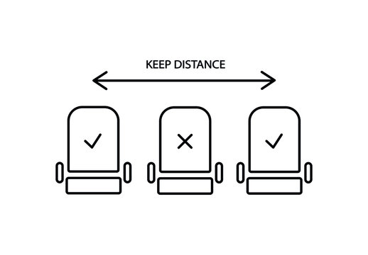 Social distance in airplane simple thin line icon vector illustration