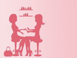 illustration of woman doing manicure in beauty center