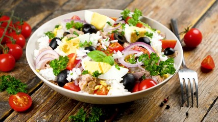 Wall Mural - mixed vegetable salad with egg, rice, tomato