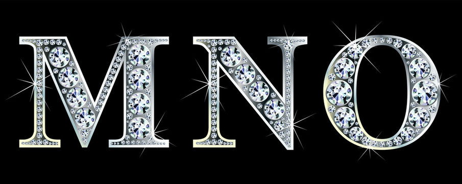 Diamond alphabet letters. Stunning beautiful MNO jewelry set in gems and silver. Vector eps10 illustration.