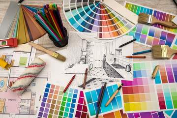 architect work - drawing sketch plans blueprints with color palette for help