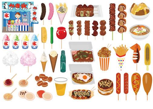 食べ物アイコン・イラスト【屋台】①(お好み焼き、焼そば、たこ焼、焼鳥、かき氷、あんず飴、チョコバナナ)