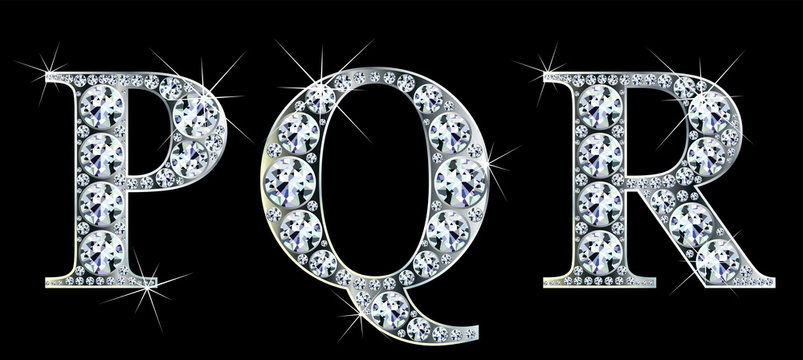 Diamond alphabet letters. Stunning beautiful PQR jewelry set in gems and silver. Vector eps10 illustration.