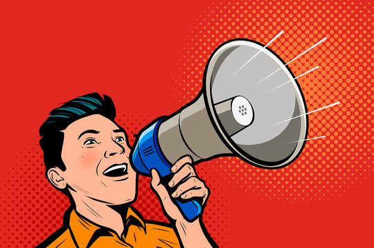 Man speaking in megaphone. Retro comic pop art vector illustration