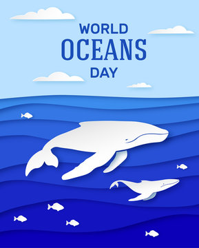 Ocean Day June 8th. Holiday poster design in paper style. Humpback whale with cubs deep in the ocean. Clouds over the sea. Vector
