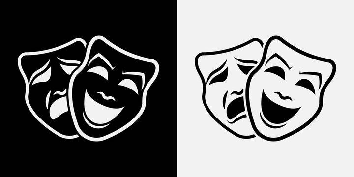 Theater masks. Vector illustration. icon