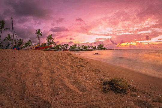 Sunset at the beach on Big Island of Hawaii