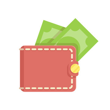 Wallet with money. Vector flat isolated on white background