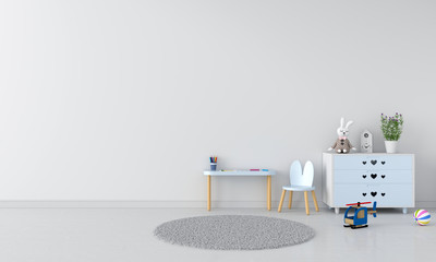 Table and chair in white child room interior, 3D rendering