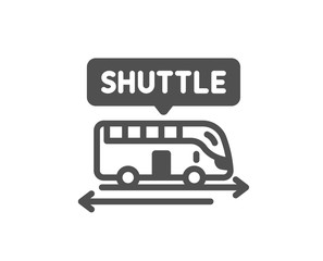 Shuttle bus icon. Airport transport sign. Transfer service symbol. Classic flat style. Quality design element. Simple shuttle bus icon. Vector