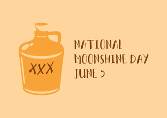 National Moonshine Day vector. Moonshine Bottle icon vector. Vintage brown alcohol container vector. Moonshine Day Poster, June 5. Important day
