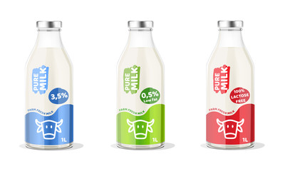 Pure Milk Bottle. Vector Illustration.