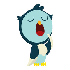 Canvas Prints Owls cartoon Cute funny sleepy owl with eyes closed. Forest bird. Decorative and style toy, doll. Happy and joyful bird in flat style. Isolated children cartoon illustration, for print or sticker