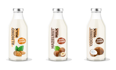 Nut Milk Bottles: almond, hazelnut, coconut vegan milk. Vector Illustration