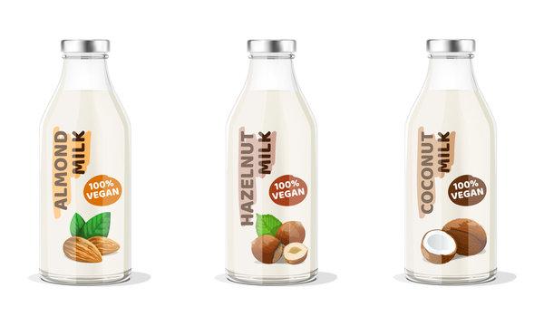 Nut Milk Bottles: almond, hazelnut, coconut vegan milk. Vector Illustration