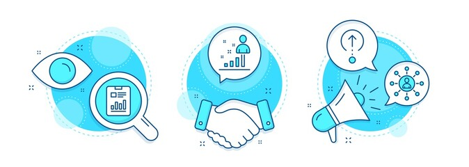 Stats, Networking and Report document line icons set. Handshake deal, research and promotion complex icons. Swipe up sign. Business analysis, Business communication, Page with charts. Vector