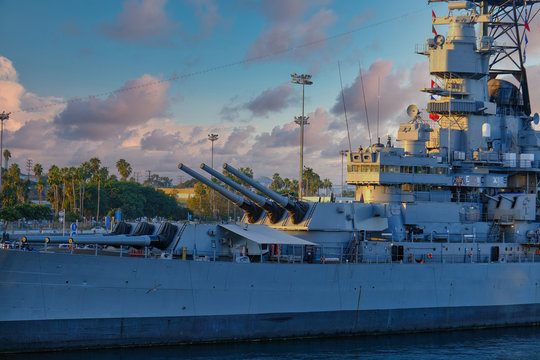 Guns on Battleship at Dusk