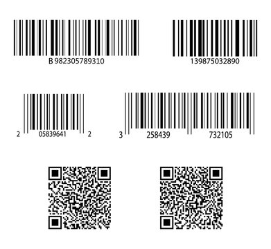 Code bar. Barcode for scan. QR sticker, scanner. Label of product. Retail sale with identification. Set of digital price tags with information. ID inventory of packaging with qrcode in store. Vector