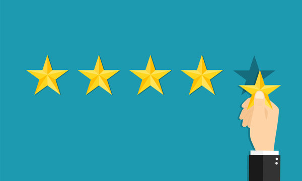 5 star. Positive review of customer. Feedback with satisfaction rating. Hand hold star. Survey about quality service. Concept of ranking. Choose icon of excellent. Good result in business. Vector.
