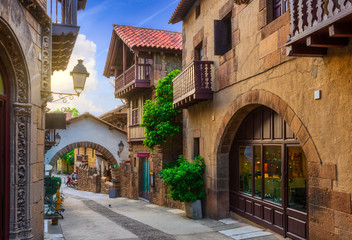 Poble Espanyol de Montjuic traditional architectures in Barcelona, Catalonia, Spain. Architecture and landmark of Barcelona.