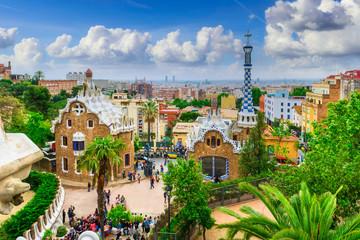 Park Guell in Barcelona, Catalunya, Spain. Architecture and landmark of Barcelona. Skyline of Barcelona