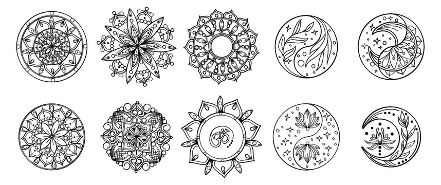 Set of hand drawing zentangle mandalas.Hand drawn mandala with moon, yin yang, om symbol in vector.  Perfect set for surface of design, textiles, posters, tattoos in indian yoga style