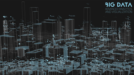 3D Big data in modern city. Abstract social information sorting visualization. Human connections or urban financial structure analysis. Complex geospatial data. Visual information complexity. Wall mural