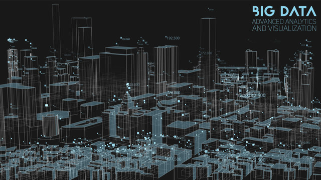 3D Big data in modern city. Abstract social information sorting visualization. Human connections or urban financial structure analysis. Complex geospatial data. Visual information complexity.