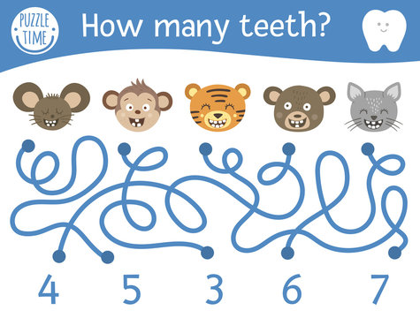 Dental care maze for children. Preschool math activity with toothy animals. Funny puzzle game with cute mouse, monkey, cat, bear, tiger. Counting labyrinth for kids. How many teeth.