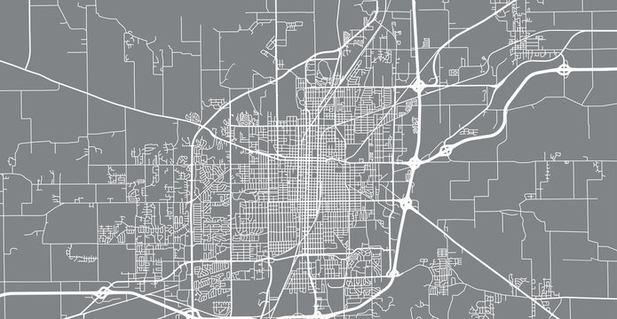 Urban vector city map of Springfield, USA. Illinois state capital