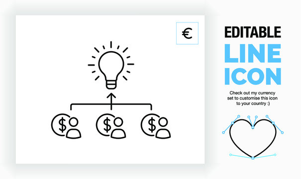 Editable line icon of crowd funding, part of a huge collection of editable line icons and stick figures!