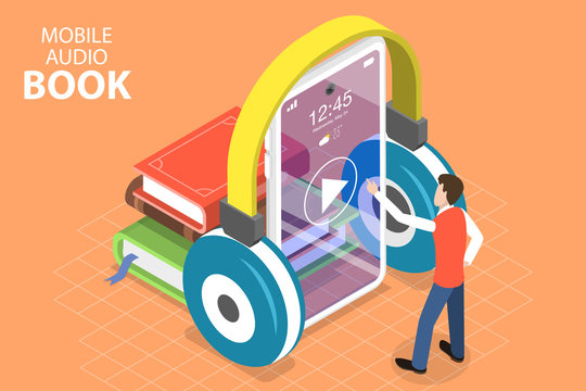 3D Isometric Flat Vector Concept of Mobile Audio Book, Online Education, Literature Listening.