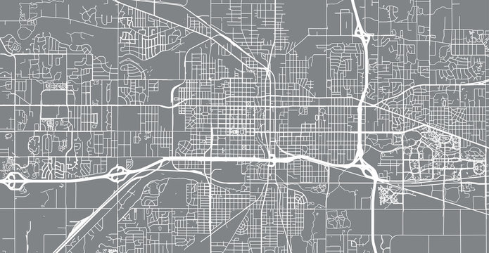 Urban vector city map of Lansing, USA. Michigan state capital