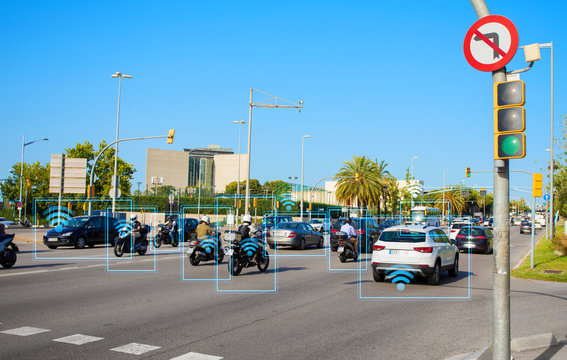 Concept of technology connecting vehicles on streets for safer and more efficient transportation