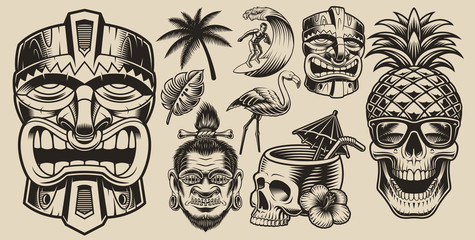 Set of vector illustrations on the theme of surfing, Hawai, vacation