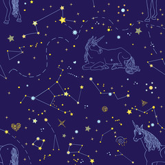 Beautiful endless texture with cosmic elements and contour blue unicorns on the blue background. Vector illustration
