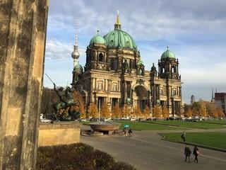 Fotorolgordijn Berlijn View Of Cathedral On Cloudy Day