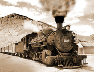 Simulated old Victorian photograph of a steam locomotive