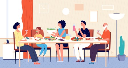 Family dinner. People eating, house holiday meals. Dining or living room, man woman kids sitting at table. Lunch at home vector illustration. House family dining, home dinner meal