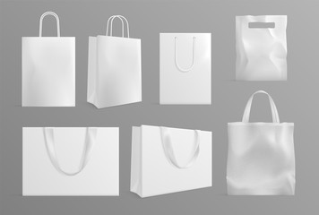 Eco bag mockup. Realistic canvas paper handbags. Modern material or cotton reusable packs for shoppers. White shopping packages vector set. Material fashion bag for shopping illustration Wall mural