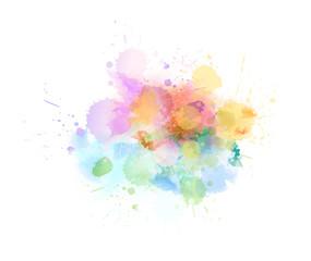 Fototapeta Pastel light watercolor paint splash. Template for your designs. Paint imitation blot. obraz