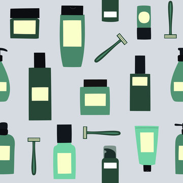 Seamless background with empty and clean green containers: bottles, face razor, spray, cream jar and tube. Cosmetology and dermatology concept. Hand drawn vector Illustration.