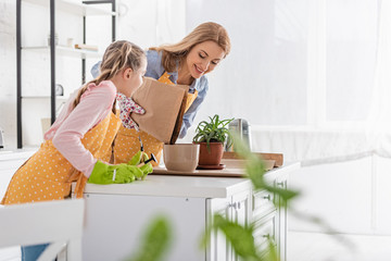 Selective focus of mother smiling and putting ground to flowerpot and daughter with gardening tools...