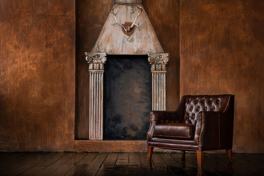 Leather vintage armchair in the interior.