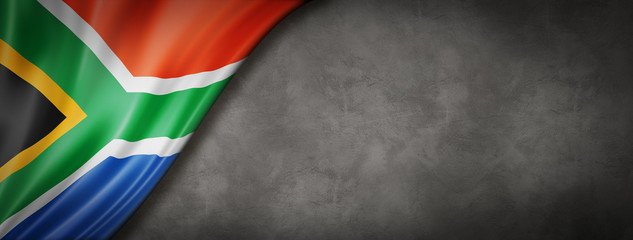 South African flag on concrete wall banner