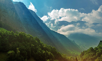 Wall Mural - Mountain Jungfrau And Valley In Switzerland.